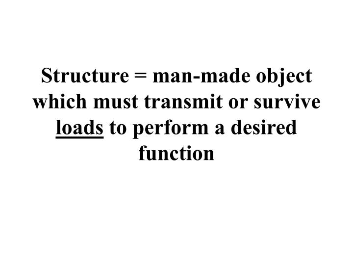 Structure man made object which must transmit or survive loads to perform a desired function