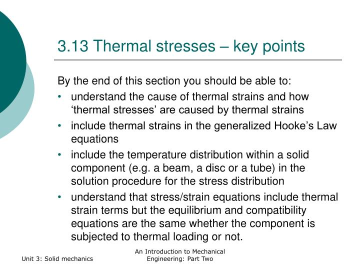 3.13 Thermal stresses – key points
