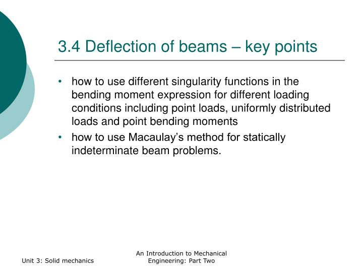 3.4 Deflection of beams – key points