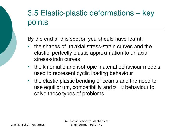 3.5 Elastic-plastic deformations – key points