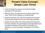 present value concept simple loan terms