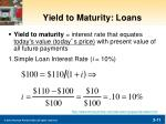 yield to maturity loans