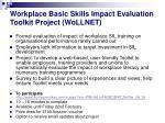 workplace basic skills impact evaluation toolkit project wollnet