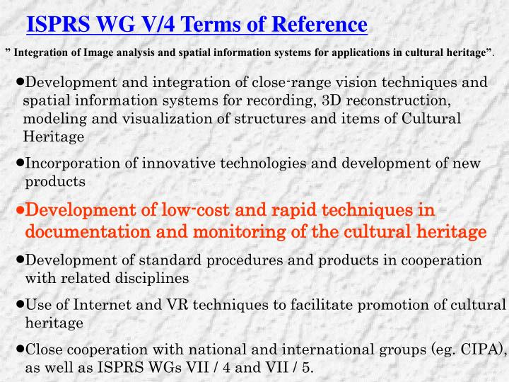 ISPRS WG V/4 Terms of Reference