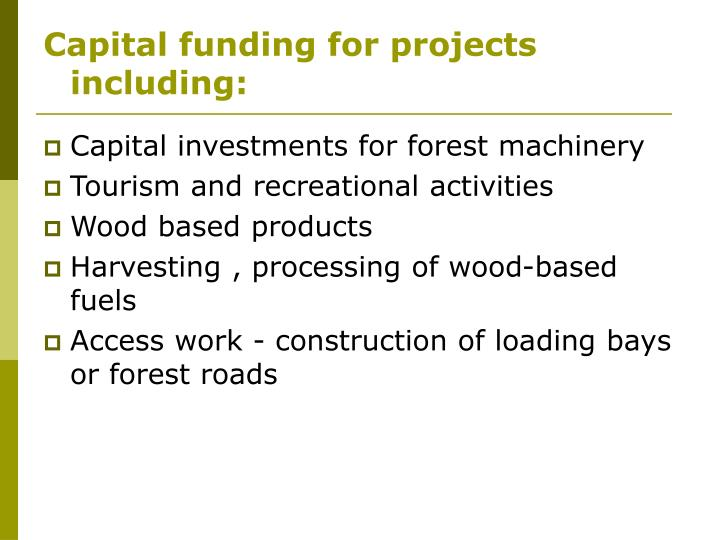 Capital funding for projects including: