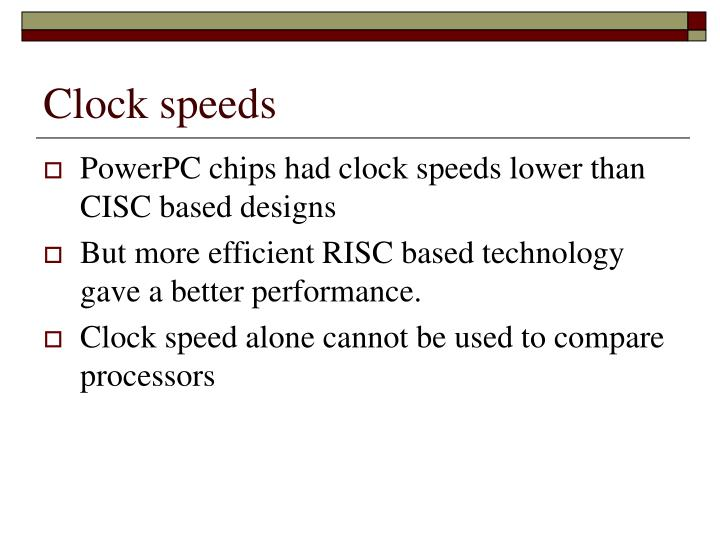 Clock speeds