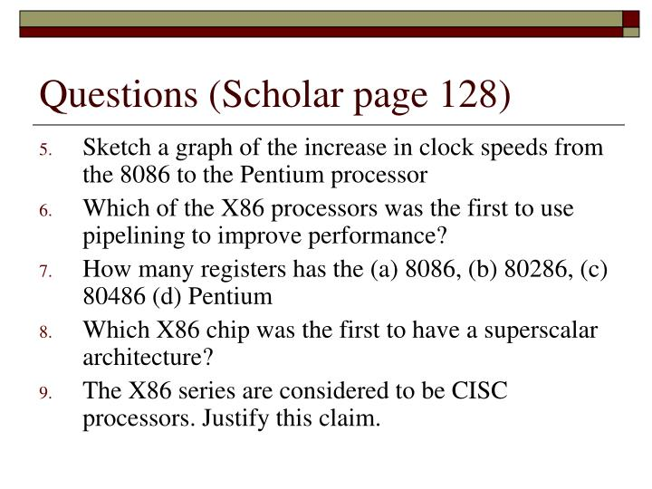 Questions (Scholar page 128)