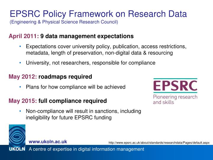 Epsrc policy framework on research data engineering physical science research council