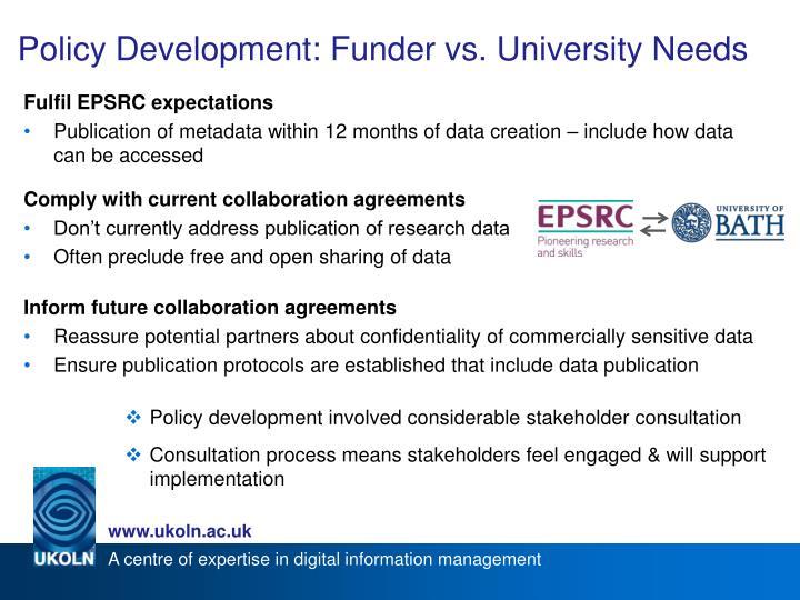 Policy Development: Funder vs. University Needs