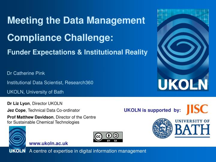 Meeting the Data Management Compliance Challenge: