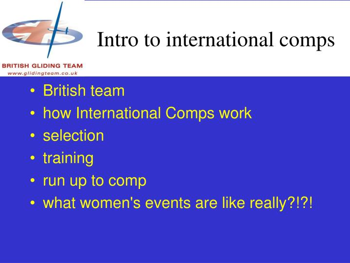 Intro to international comps