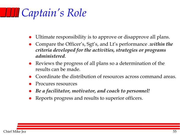 Ultimate responsibility is to approve or disapprove all plans.
