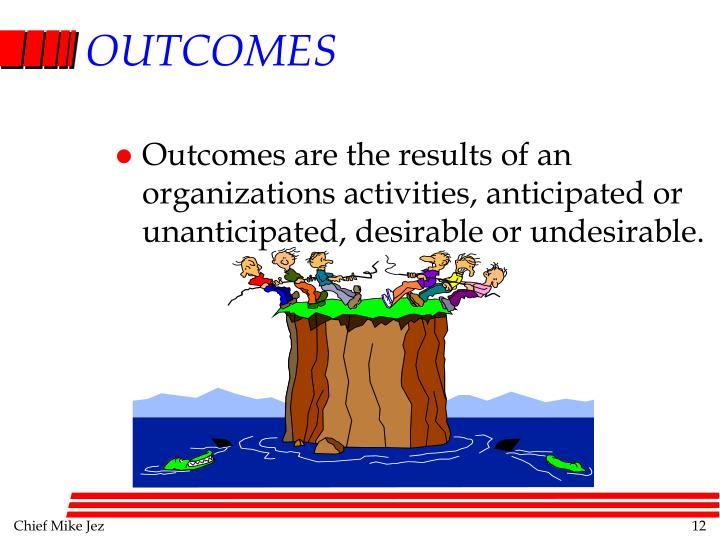 Outcomes are the results of an organizations activities, anticipated or unanticipated, desirable or undesirable.