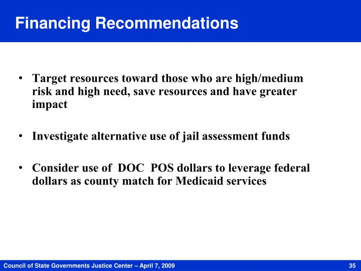 Financing Recommendations