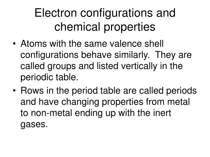 Electron configurations and chemical properties