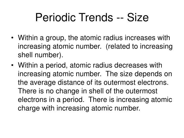 Periodic Trends -- Size