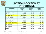 mtef allocation by programme