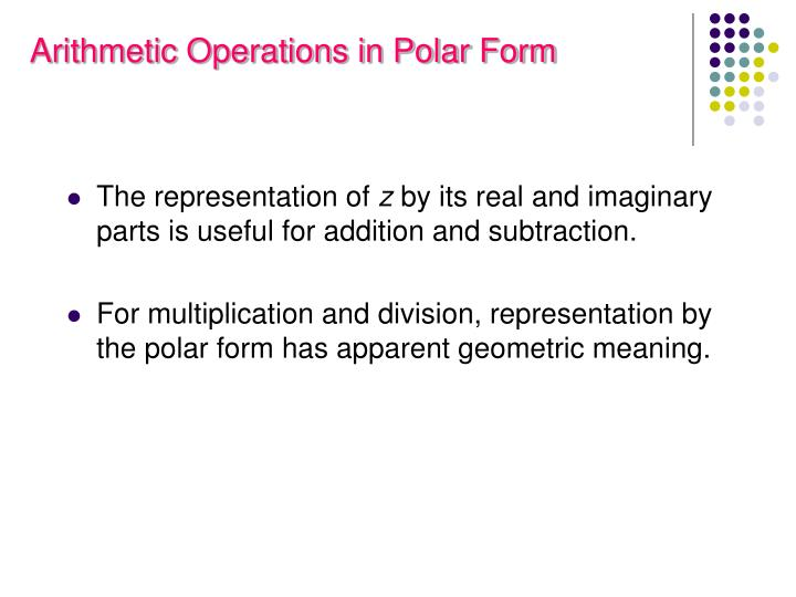 Arithmetic Operations in Polar Form