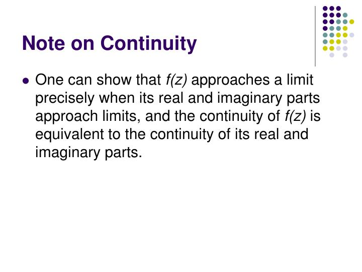 Note on Continuity
