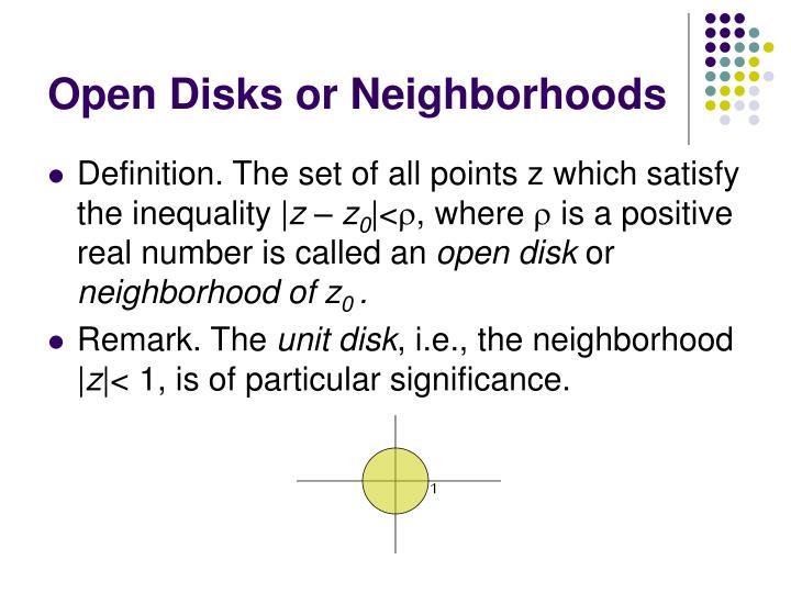 Open disks or neighborhoods