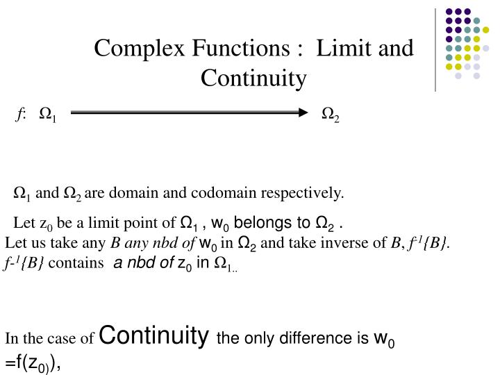 Complex Functions :  Limit and Continuity