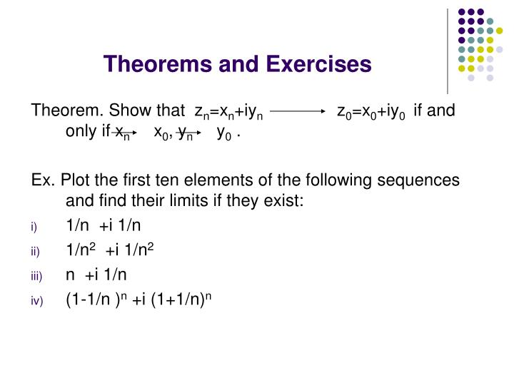 Theorems and Exercises