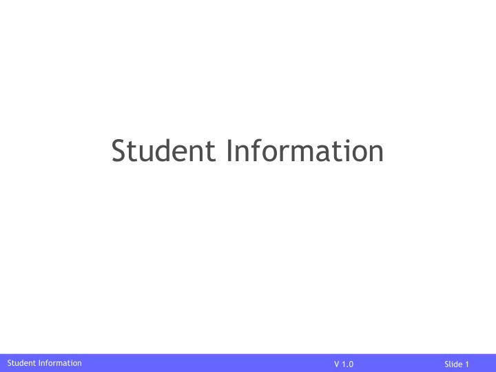 student information n.