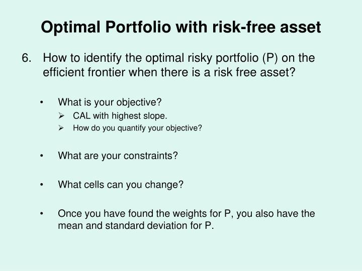 Optimal Portfolio with risk-free asset