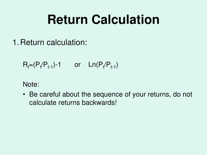Return calculation
