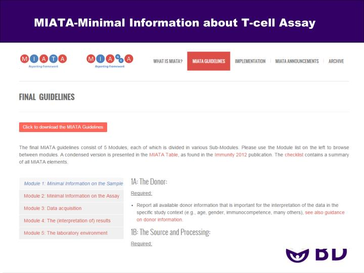 MIATA-Minimal Information about T-cell Assay