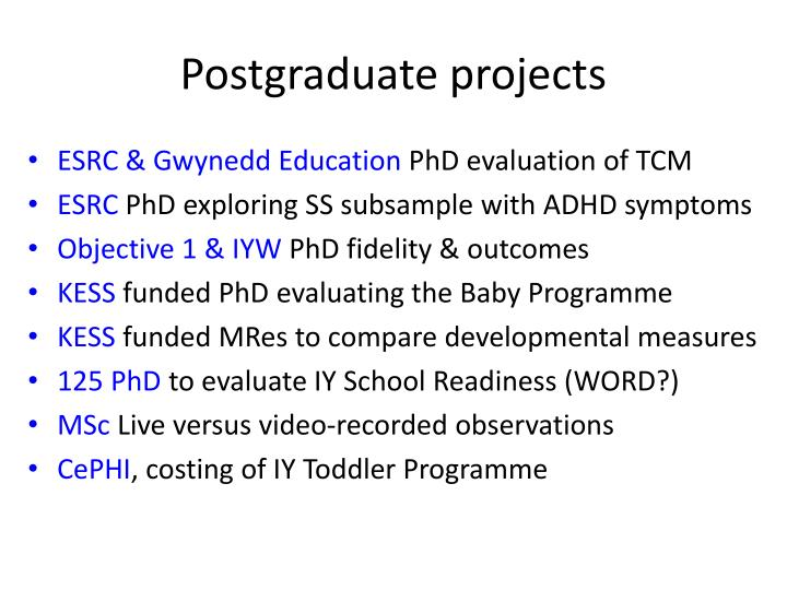 Postgraduate projects