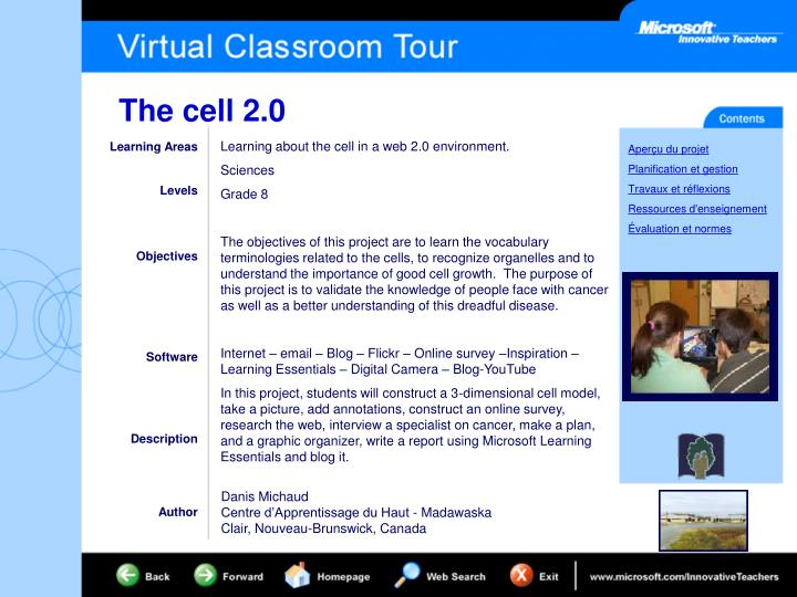 Learning about the cell in a web 2.0 environment.