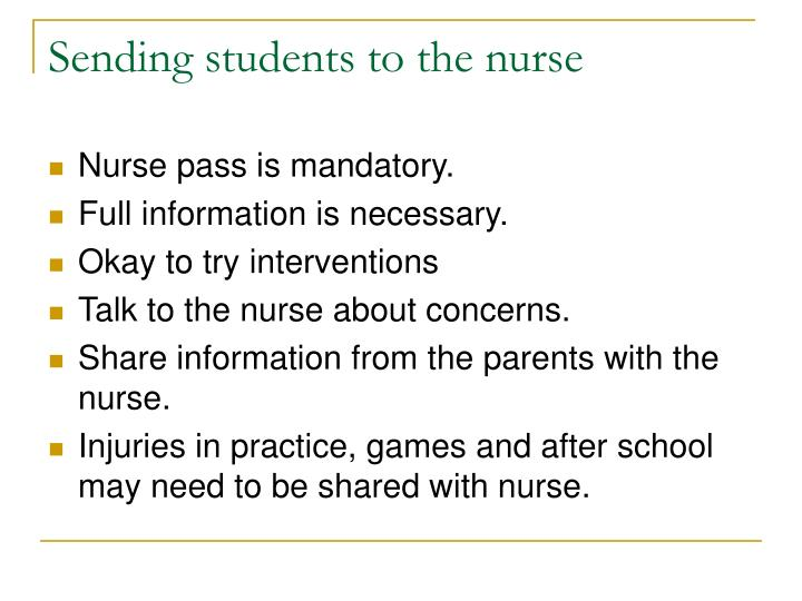 Sending students to the nurse