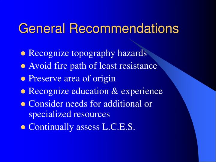 General recommendations1