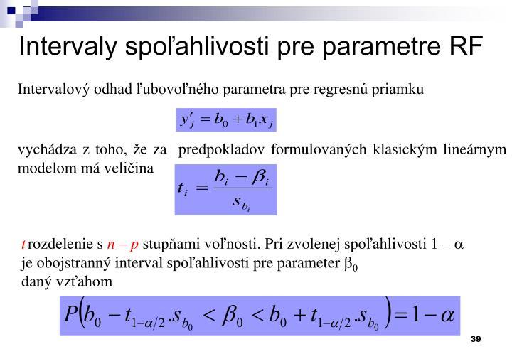 Intervaly spoľahlivosti pre parametre RF