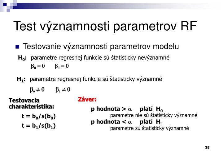 Test významnosti parametrov RF