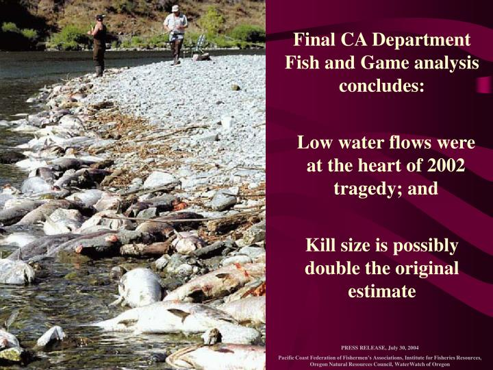 Final CA Department Fish and Game analysis concludes:
