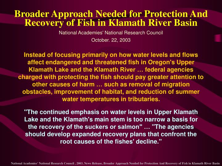 Broader Approach Needed for Protection And Recovery of Fish in Klamath River Basin