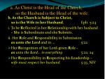 a as christ is the head of the church so the husband is the head of the wife