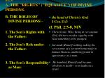 i divine headship and order i cor 11 3 a the rights equality of divine persons