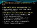 i divine headship and order i cor 11 3 ii appointed headships and order i cor 11 3