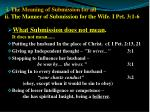i the meaning of submission for all ii the manner of submission for the wife i pet 3 1 6