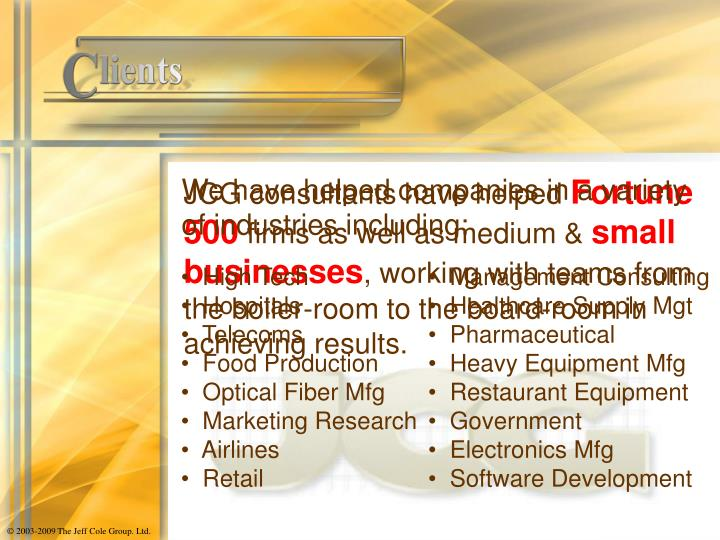 We have helped companies in a variety of industries including: