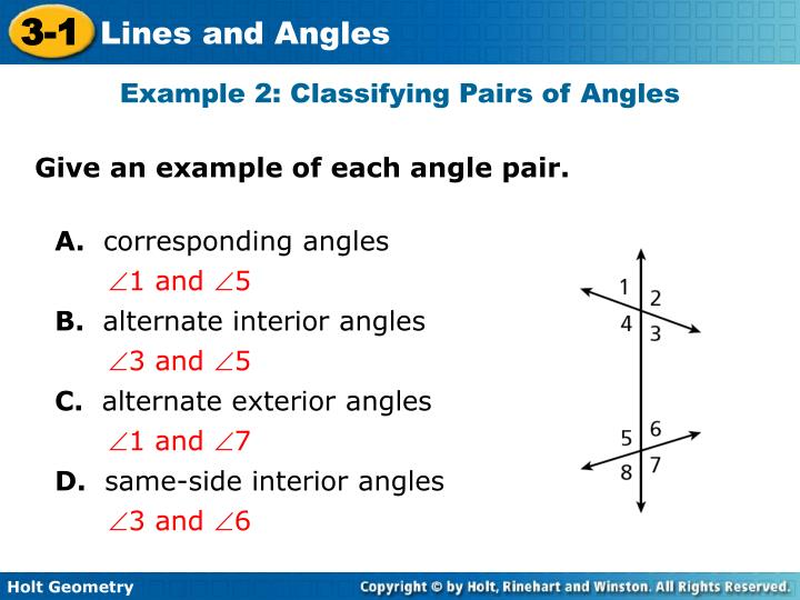 Example 2: Classifying Pairs of Angles