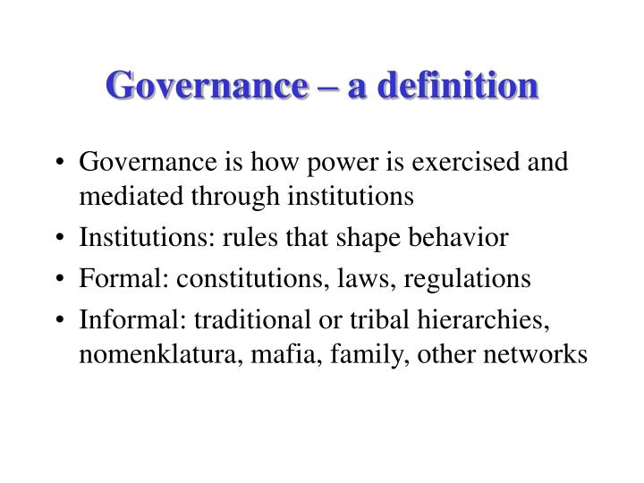 Governance – a definition