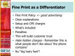 fine print as a differentiator