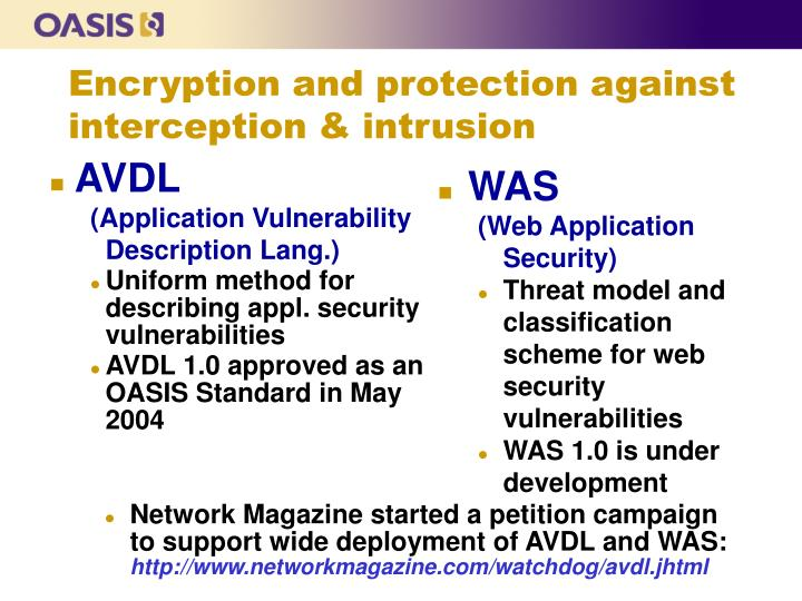 Encryption and protection against interception & intrusion