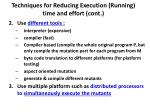 techniques for reducing execution running time and effort cont