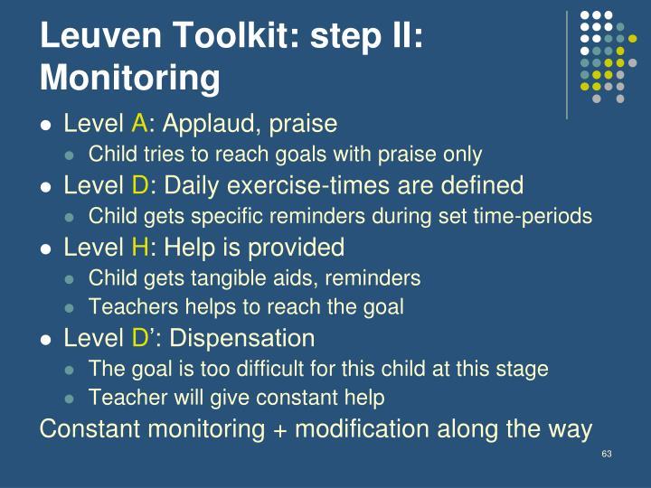 Leuven Toolkit: step II: Monitoring