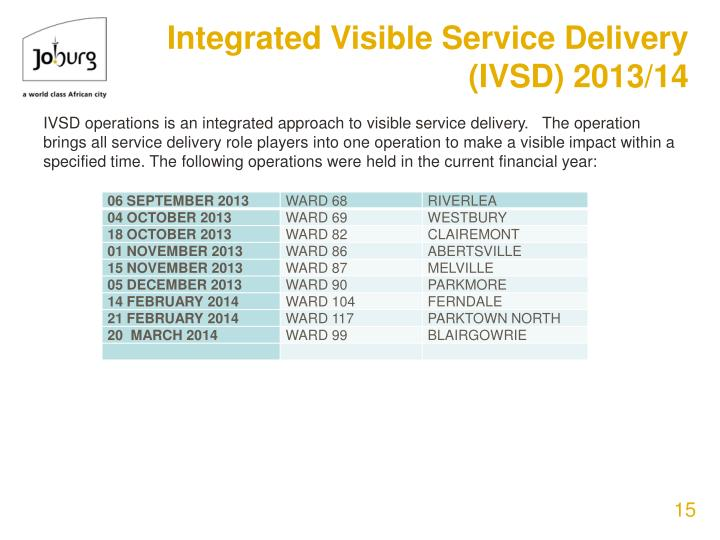 Integrated Visible Service Delivery (IVSD) 2013/14